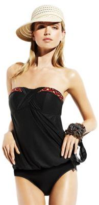 Badgley Mischka Black St Tropez Beaded Blouson Tankini Top