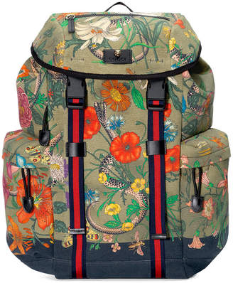 Gucci Flora Snake print backpack