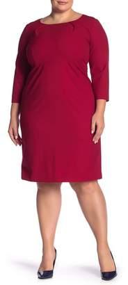 Lafayette 148 New York Pleated Crew Neck Elbow Sleeve Wool Blend Dress (Plus Size)