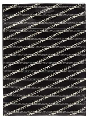 Balenciaga Monogram Logo Print Leather Tote Bag - Womens - Black Grey