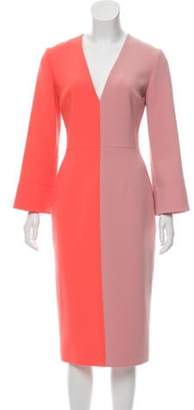 Roksanda Long Sleeve Midi Dress Pink Long Sleeve Midi Dress