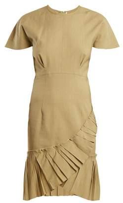 Isabel Marant Rimba Pleated Hem Linen Blend Dress - Womens - Khaki