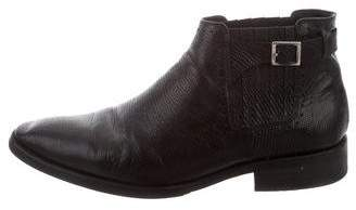 The Kooples Leather Round-Toe Ankle Boots