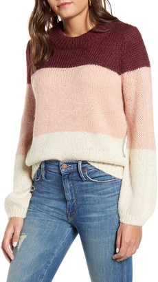 Vero Moda Wine Colorblock Crewneck Sweater