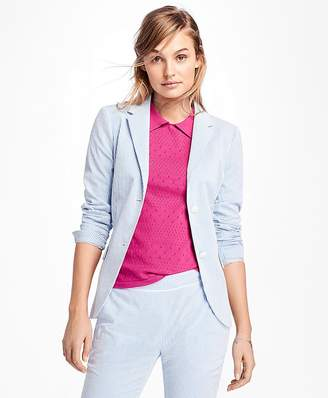 Stripe Seersucker Two-Button Blazer $178 thestylecure.com