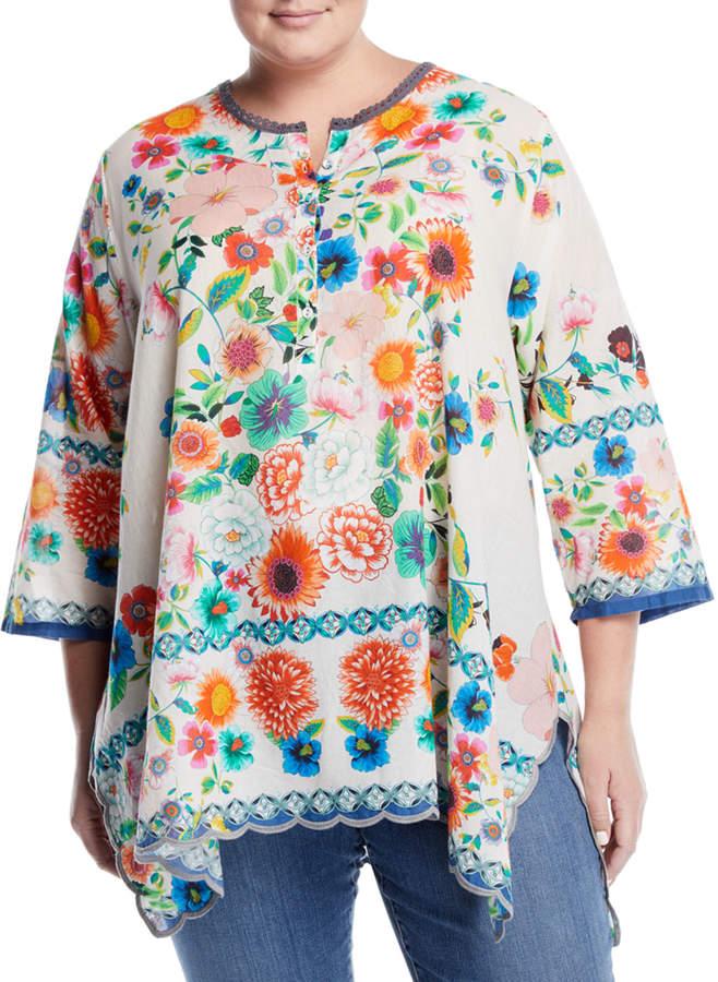 Mala Floral Handkerchief Blouse, Plus Size