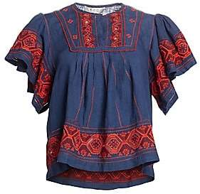 Sea Women's Leah Puff Sleeve Embroiered Top