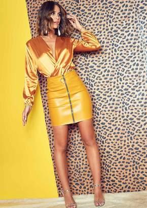 c1297c8e65 Missy Empire Missyempire Arla Mustard Faux Leather Front Zip Mini Skirt