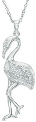 Zales Diamond Accent Flamingo Pendant in Sterling Silver