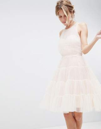Little Mistress Mesh Prom Dress With Tiered Skirt