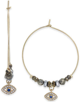 "Paul & Pitu Naturally Tri-Tone Watchful Eye Crystal & Bead 1/2"" Hoop Earrings"