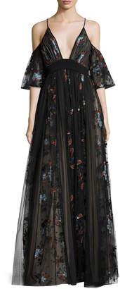 Elizabeth and James Sequoia Floral-Embroidered Cold-Shoulder Tulle Gown