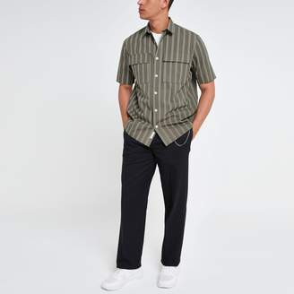 River Island Mens Green stripe chest pocket shirt