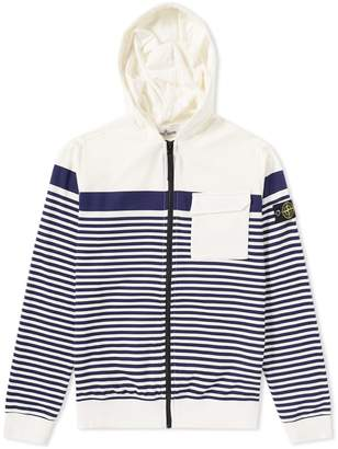 Stone Island Junior Stripe Printed Fleece Zip Hoody