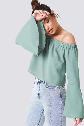 Na Kd Boho Off Shoulder Woven Wide Sleeve Top Dusty Blue