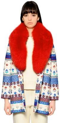 Giada Benincasa Embroidered Wool Blend & Fur Coat