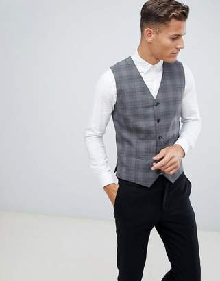 Jack and Jones Slim Vest In Gray Check