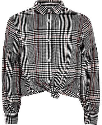 River Island Girls pink check puff sleeve shirt