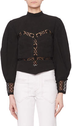 Isabel Marant Mock-Neck Volume-Sleeve Linen Bustier Blouse w/ Lace