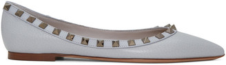 Valentino Grey Rockstud Ballerina Flats $775 thestylecure.com