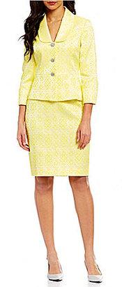 Albert Nipon Floral Jacquard Peplum Skirt Suit $385 thestylecure.com