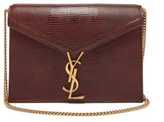 Saint Laurent Cassandra Lizard Effect Leather Cross Body Bag - Womens - Brown