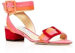 Jimmy Choo Women's Dacha 35 Suede Color-Block Block Heel Sandals