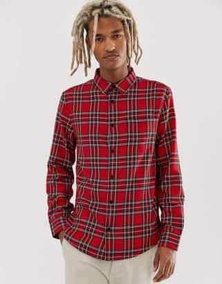 Bershka shirt in red with plaid print