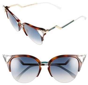 Women's Fendi Crystal 52Mm Tipped Cat Eye Sunglasses - Havana Gold Vio/ G5