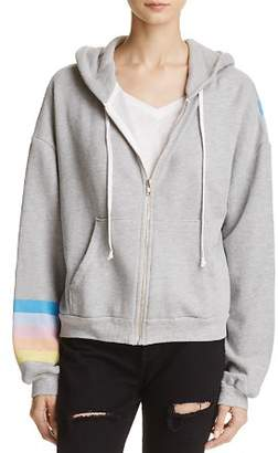 Wildfox Couture WILD FOX Striped Zip-Front Hoodie