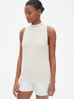 Gap Textured Sleeveless Mockneck Sweater