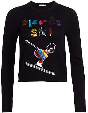 Alice + Olivia Women's Connie Sequin Slogan Stacey-Embroidered Sweater