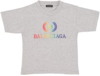 Balenciaga Rainbow Logo Cotton Jersey T-Shirt