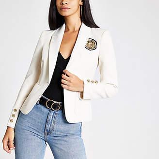 River Island Cream embroidered badge blazer