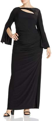 Adrianna Papell Plus Embellished Cutout Gown