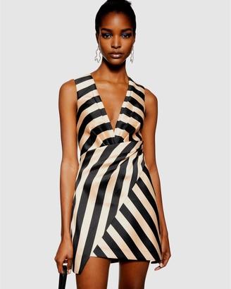 Topshop Stripe Wrap Structured Dress