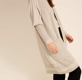 Amanda Wakeley Pebble & Ecru Ribbed Cashmere Cardigan