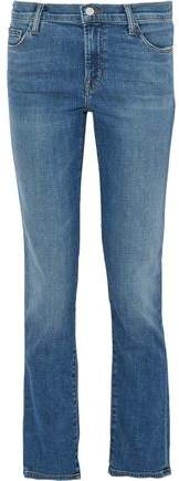 Mid-Rise Faded Slim-Leg Jeans