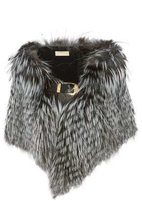 Elie Saab Leather-Trimmed Fur Stole
