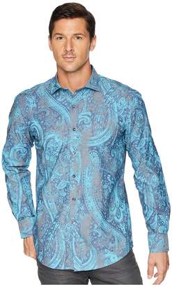 Bugatchi Shaped Fit Vintage Paisley Woven Shirt Men's Clothing