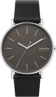 Skagen Signatur Leather Strap Watch, 45mm