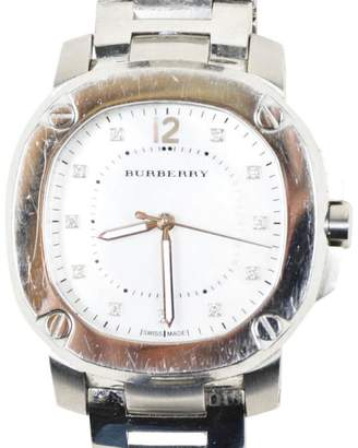 "Burberry Britain"" Stainless Steel Diamond Mother of Pearl Crystal 38mm Womens Watch"