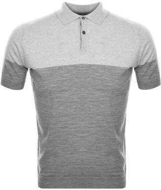 John Smedley Toller Knit Polo T Shirt Grey