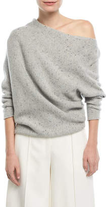 Narciso Rodriguez Knit One-Shoulder Speckled Wool/Cashmere Top
