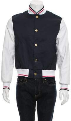 Thom Browne Leather-Accented Bomber Jacket