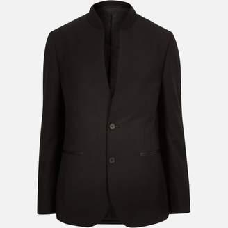 River Island Mens Black smart inverse collar slim blazer