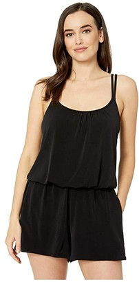Maxine Of Hollywood Swimwear Solids Tricot Romper One-Piece