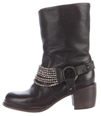 Vera Wang Leather Embellished Ankle Boots