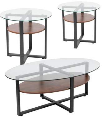 Princeton Collection Flash Furniture 3 Piece Coffee and End Table Set with Glass Tops and Rustic Oak Wood Shelves