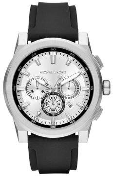 Michael Kors Grayson Stainless-Steel and Black Silicone Chronograph Watch